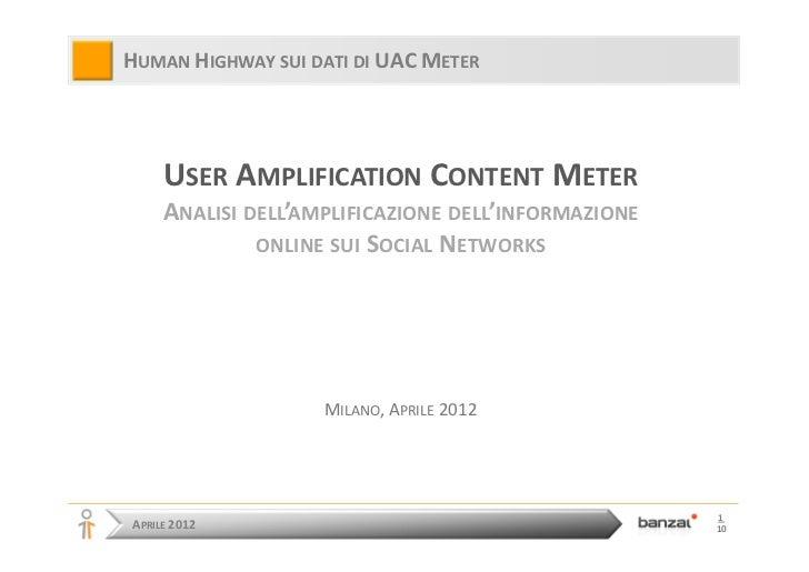 HUMAN HIGHWAY SUI DATI DI UAC METER     USER AMPLIFICATION CONTENT METER     ANALISI DELL'AMPLIFICAZIONE DELL'INFORMAZIONE...