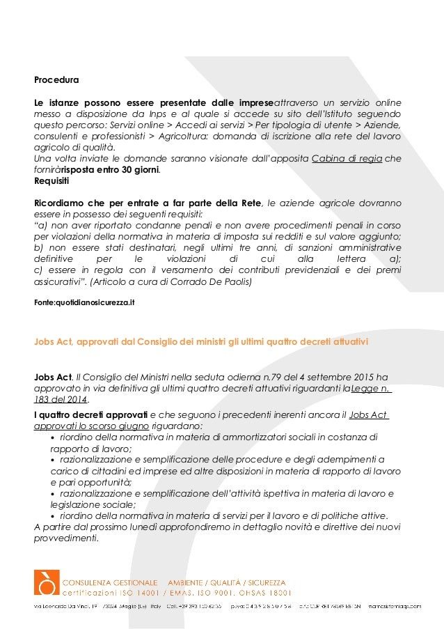 News ssl 35 2015 for Inps servizi per aziende e consulenti