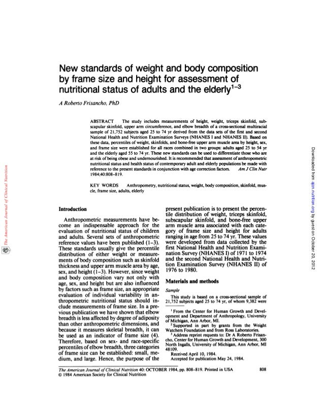 New standards of weight and body composition by frame size and heigth…