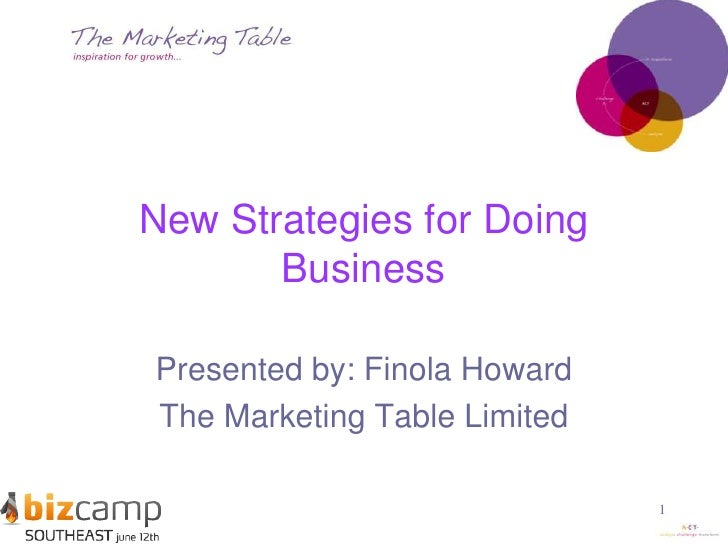 1<br />New Strategies for Doing Business<br />Presented by: Finola Howard<br />The Marketing Table Limited<br />