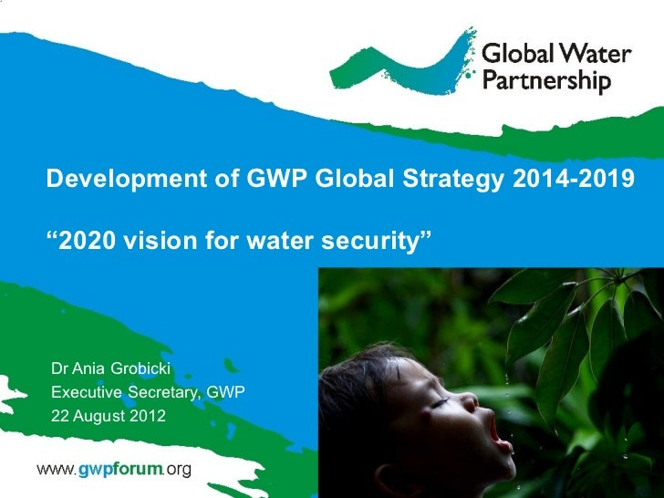 """Development of GWP Global Strategy 2014-2019""""2020 vision for water security""""Dr Ania GrobickiExecutive Secretary, GWP22 Aug..."""