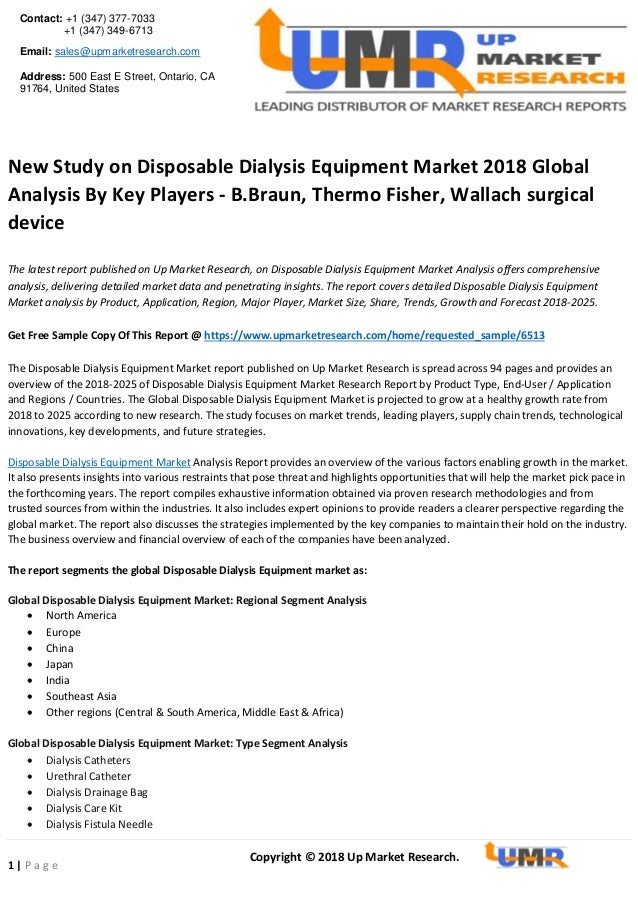 New study on disposable dialysis equipment market 2018 global analysi…