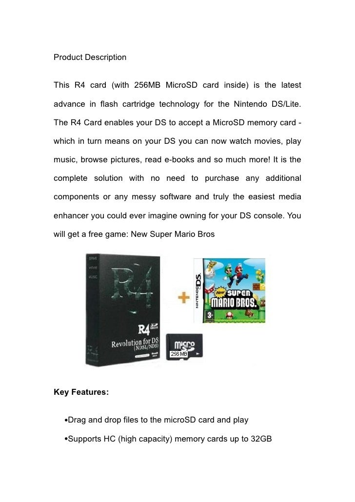 Product Description   This R4 card (with 256MB MicroSD card inside) is the latest  advance in flash cartridge technology f...