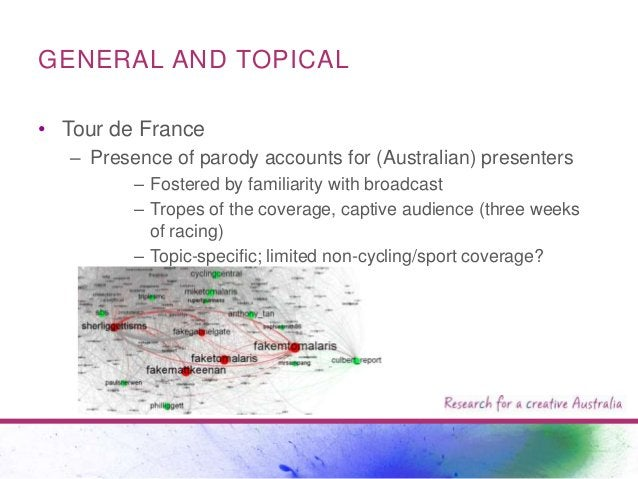 GENERAL AND TOPICAL • Tour de France – Presence of parody accounts for (Australian) presenters – Fostered by familiarity w...