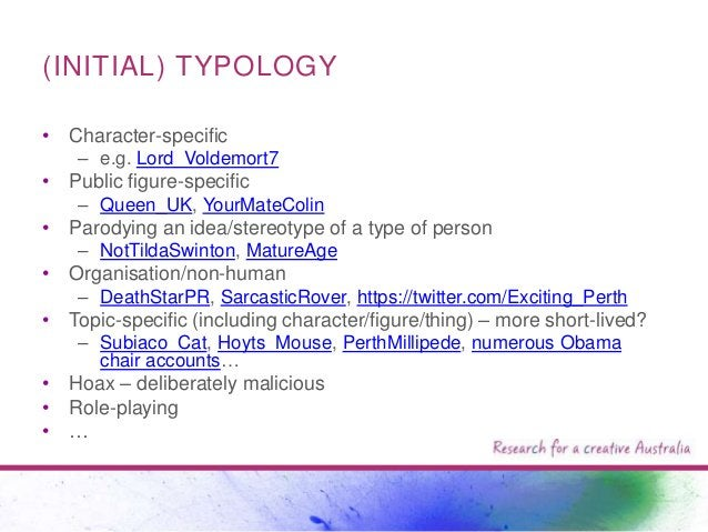(INITIAL) TYPOLOGY • Character-specific – e.g. Lord_Voldemort7  • Public figure-specific – Queen_UK, YourMateColin  • Paro...