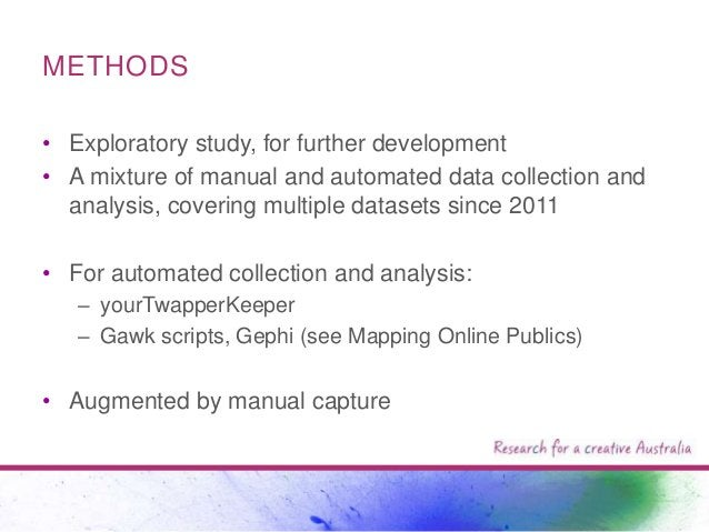 METHODS • Exploratory study, for further development • A mixture of manual and automated data collection and analysis, cov...