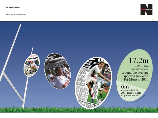 17.2mmen read newspapers around the average sporting weekend (Fri-Mon) in 2010 6mmen watched the 2007 Rugby World Cup Fina...