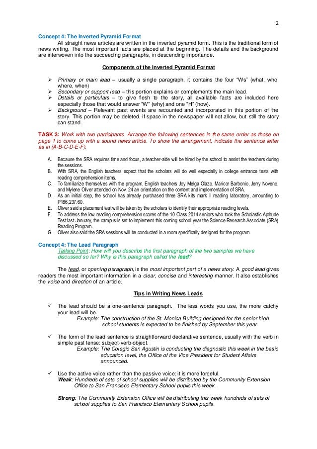 Howto Write Any Senior School Article