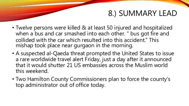 summary lead news writing and reporting