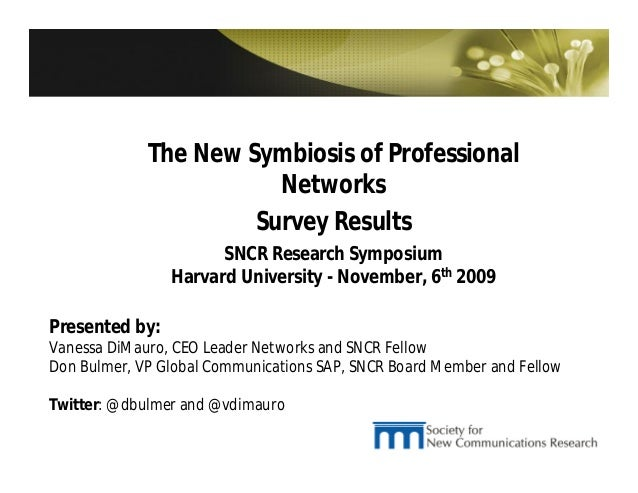 The New Symbiosis of Professional  Networks  Survey Results  SNCR Research Symposium  Harvard University - November, 6th 2...