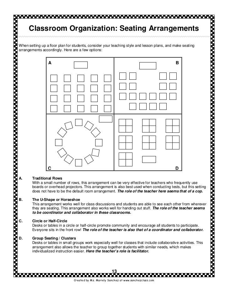 New teachers survival kit classroom organization seating arrangementswhen pronofoot35fo Image collections