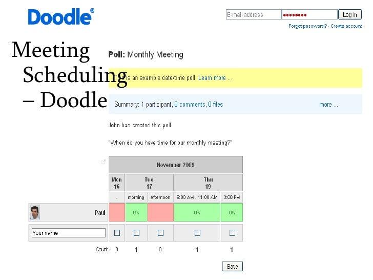 Meeting Scheduling – Doodle