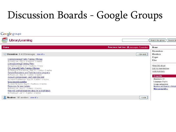 Discussion Boards - Google Groups