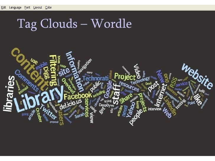 <ul><ul><li>Tag Clouds – Wordle </li></ul></ul>