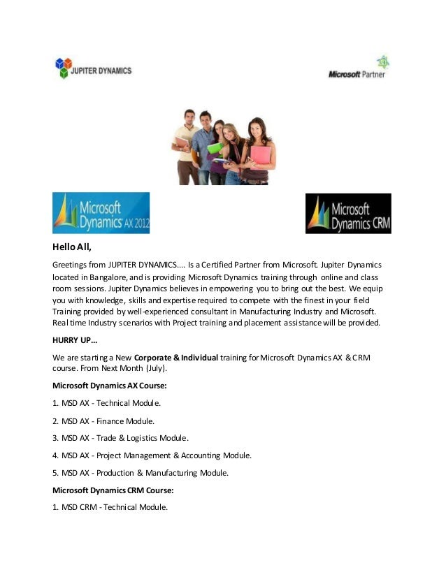 Microsoft Dynamics Ax Crm Course Training In Bangalore