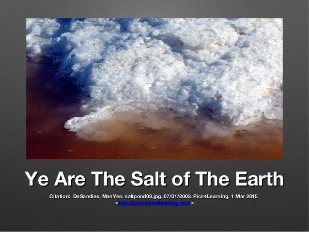 Ye Are The Salt of The EarthYe Are The Salt of The Earth Citation: DeSandies, ManYee. saltpond03.jpg. 07/01/2003. Pics4Lea...