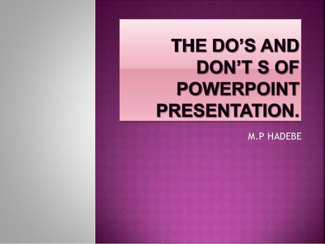 New the do's and don't s of powerpoint presentation