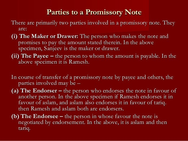 the negotiable instruments act 1881 – Promissory Note Parties