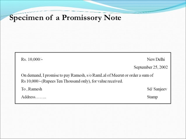 Specimen Of A Promissory Note; 9. Parties ...  Parties Of Promissory Note