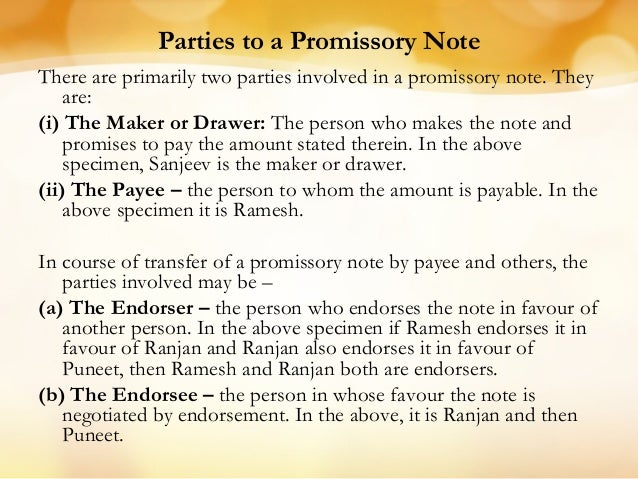 Specimen Of A Promissory Note; 11. Parties ...