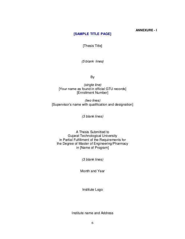 gtu m.pharm thesis guidelines 2016