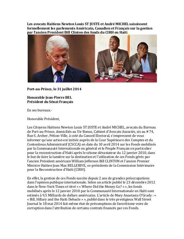 Les  avocats  Haitiens  Newton  Louis  ST  JUSTE  et  André  MICHEL  saississent   formellement  l...