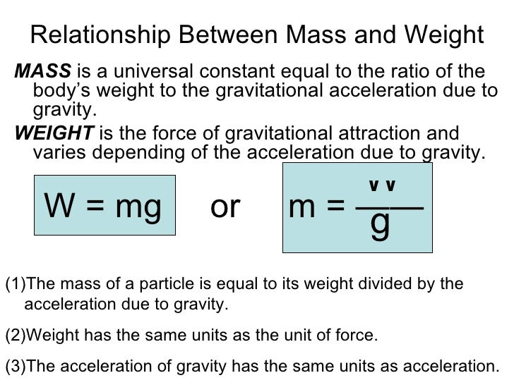 the relationship between mass and gravity