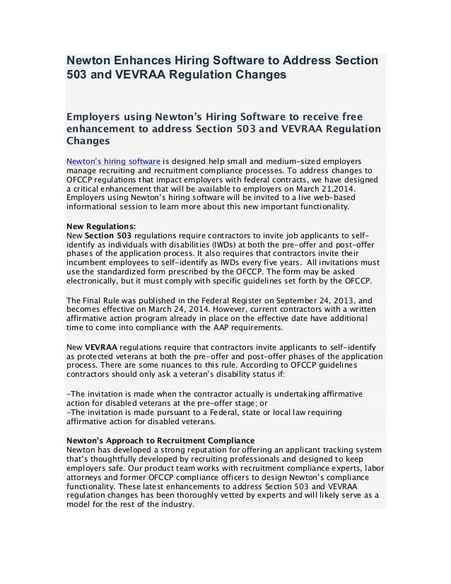 Newton Enhances Hiring Software to Address Section 503 and VEVRAA Regulation Changes Employers using Newton's Hiring Softw...