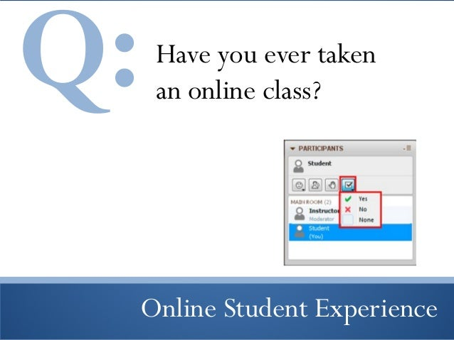Q:  Have you ever taken an online class?  Online Student Experience