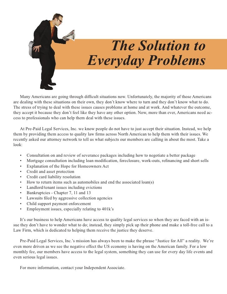 The Solution to                                           Everyday Problems      Many Americans are going through difficul...