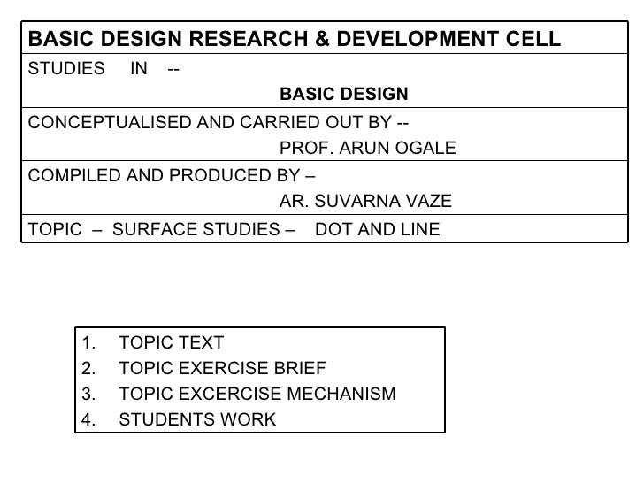 STUDIES  IN  -- BASIC DESIGN   CONCEPTUALISED AND CARRIED OUT BY -- PROF. ARUN OGALE TOPIC  –  SURFACE STUDIES –  DOT AND ...