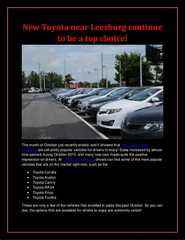 New Toyota near Leesburg continue to be a top choice!  The month of October just recently ended, and it showed that new To...