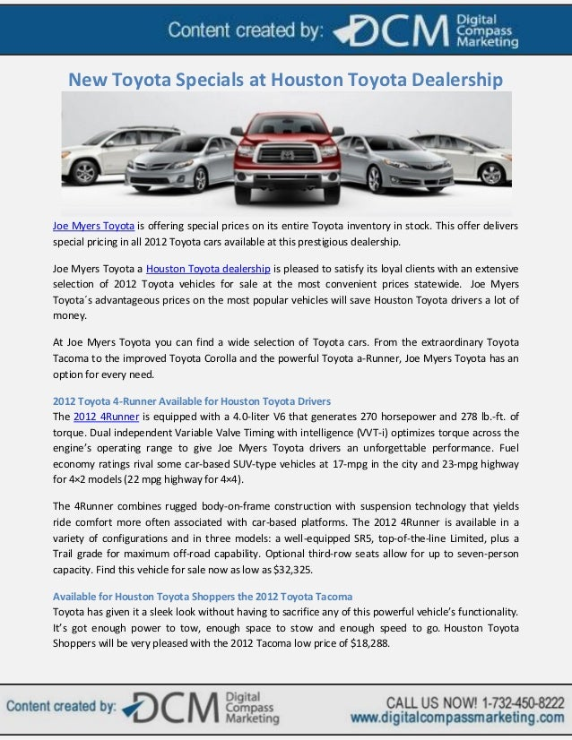 New Toyota Specials At Houston Toyota DealershipJoe Myers Toyota Is  Offering Special Prices On Its Entire ...