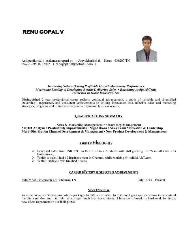 CV For Experienced Person   Executive Level. RENU GOPAL V Andipattikottai ׀  Aalamarathupatti Po ׀ Aravakkurichi Tk ...