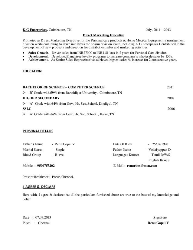cv for experienced person