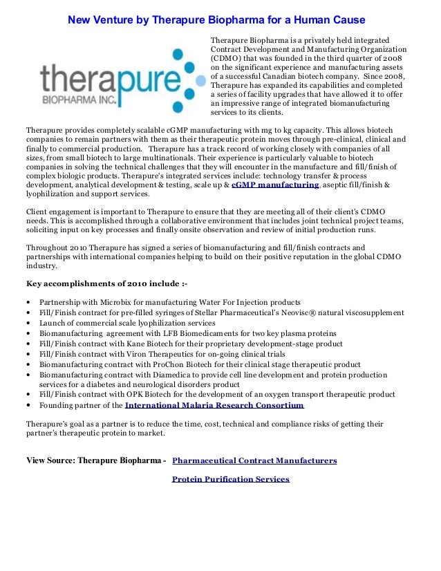 New Venture by Therapure Biopharma for a Human Cause Therapure Biopharma is a privately held integrated Contract Developme...