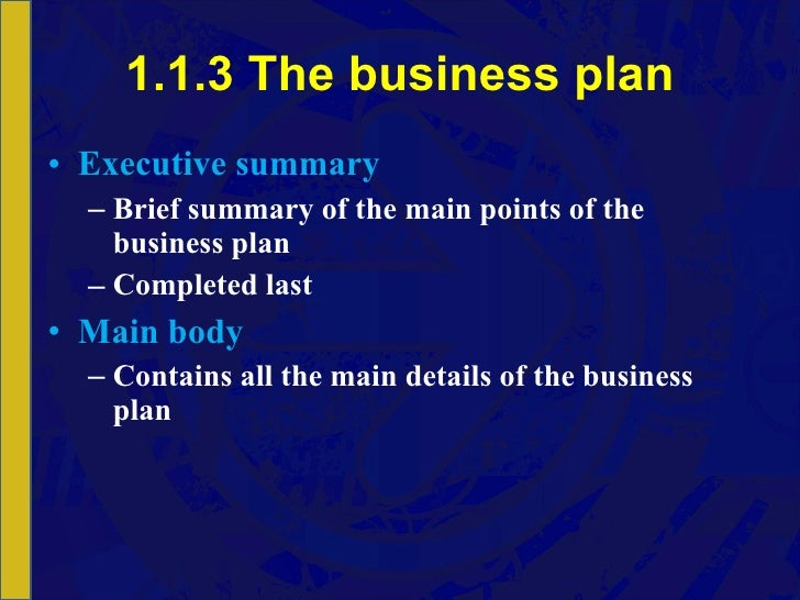 Business Plan Section 1: Executive Summary