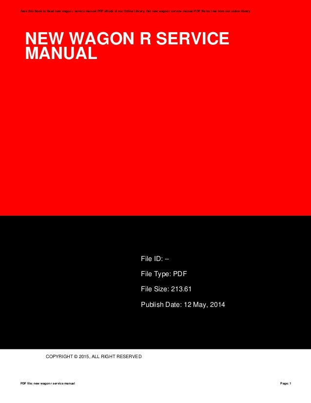 New wagon r service manual
