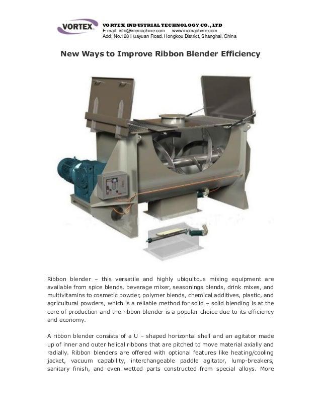 New ways to improve ribbon mixer efficiency
