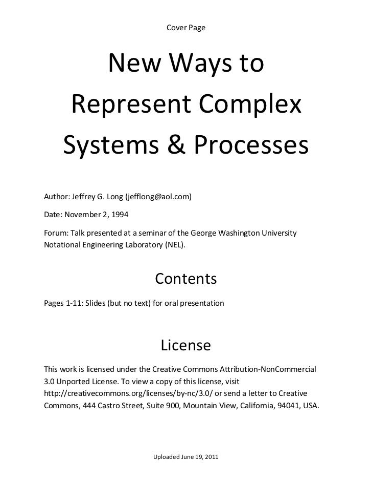 CoverPage         NewWaysto      RepresentComplex     Systems&ProcessesAuthor:JeffreyG.Long(jefflong@aol.co...