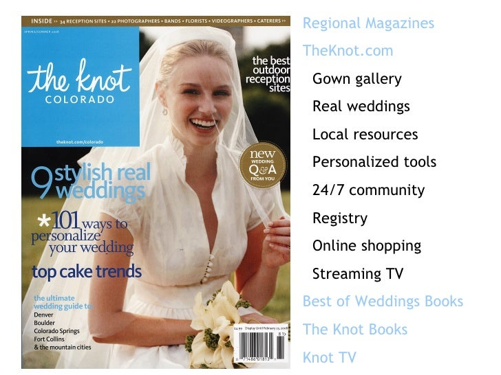 Regional Magazines TheKnot.com Gown gallery Real weddings Local resources Personalized tools 24/7 community Registry Onlin...