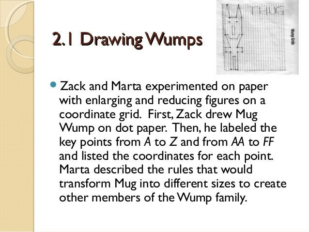 2.1 Drawing Wumps Zack  and Marta experimented on paper with enlarging and reducing figures on a coordinate grid. First, ...