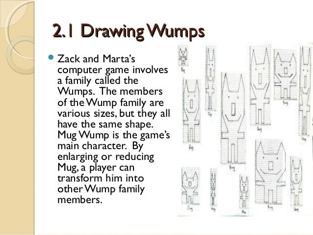 2.1 Drawing Wumps  Zack  and Marta's computer game involves a family called the Wumps. The members of the Wump family are...