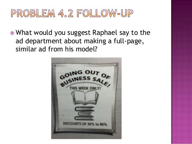  What  would you suggest Raphael say to the ad department about making a full-page, similar ad from his model?