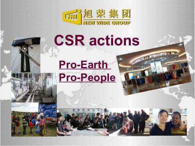 www.newwide.com CSR actions Pro-Earth Pro-People