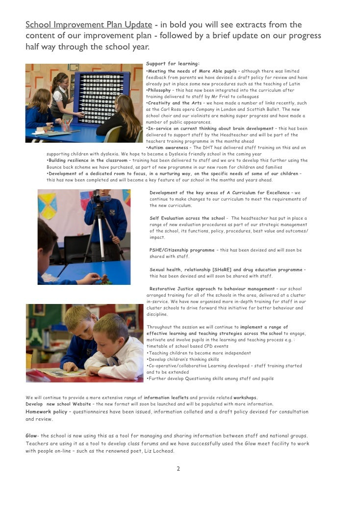 School Improvement Plan Update - in bold you will see extracts from the content of our improvement plan - followed by a br...