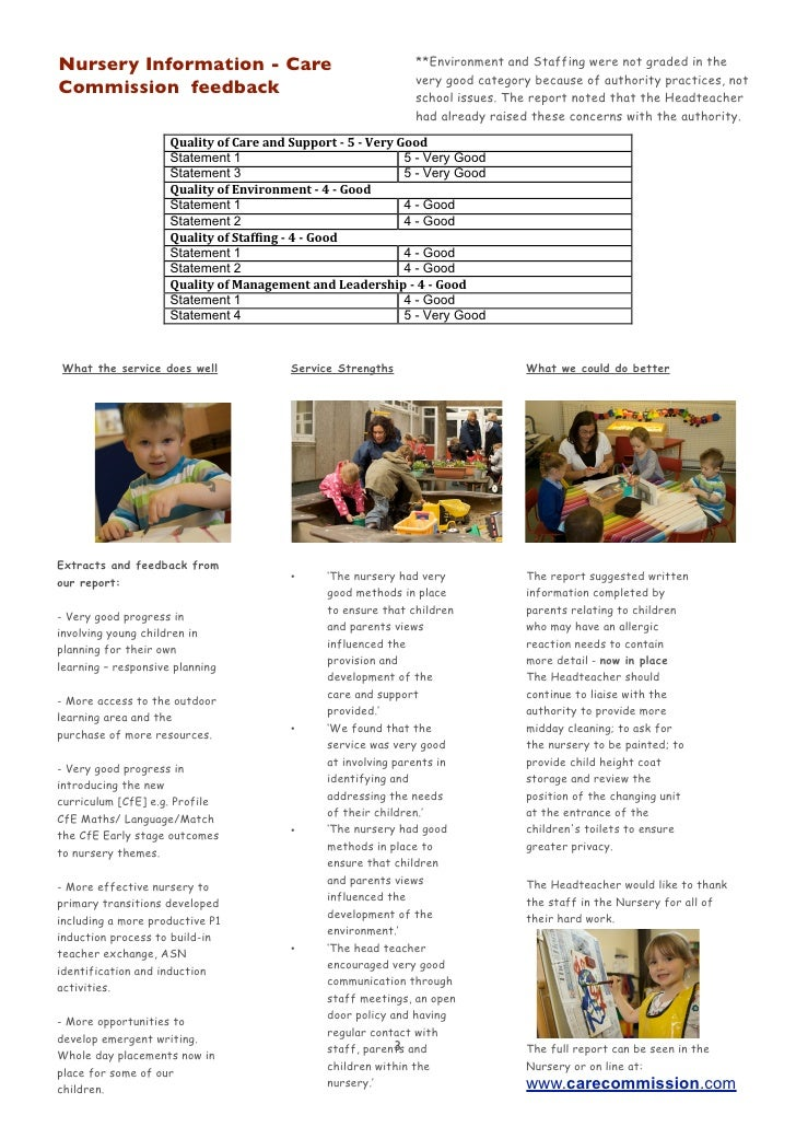 Nursery Information - Care                                    **Environment and Staffing were not graded in the           ...