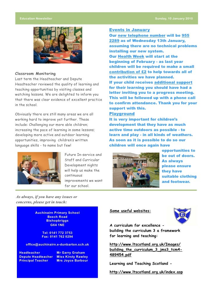 Education Newsletter                                                       Sunday, 10 January 2010                        ...