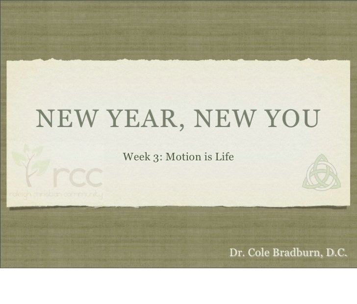 NEW YEAR, NEW YOU      Week 3: Motion is Life                               Dr. Cole Bradburn, D.C.