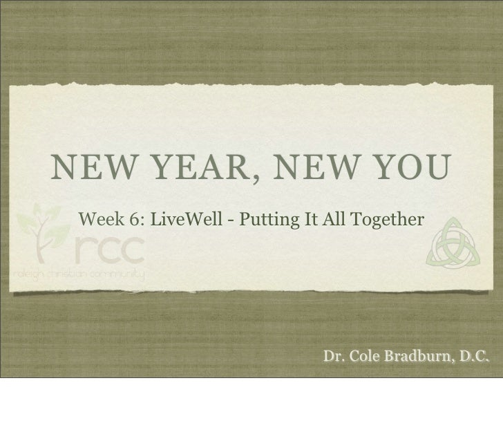 NEW YEAR, NEW YOU                   Eat Well, Move Well, Think Well, Connect Well                              Week 6: Put...